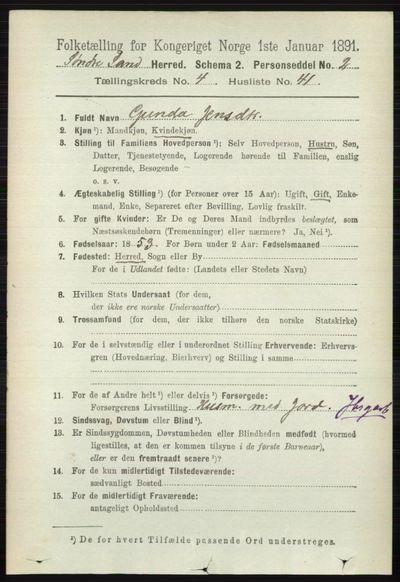 Image from object titled Folketelling 1891 - Søndre Land - personsedler - side 4232
