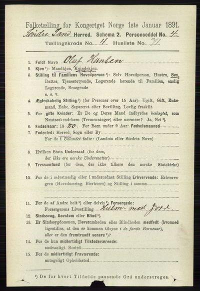 Image from object titled Folketelling 1891 - Søndre Land - personsedler - side 4413