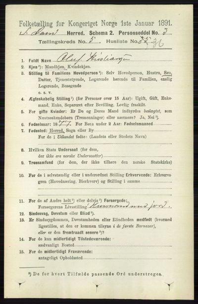 Image from object titled Folketelling 1891 - Søndre Land - personsedler - side 5040
