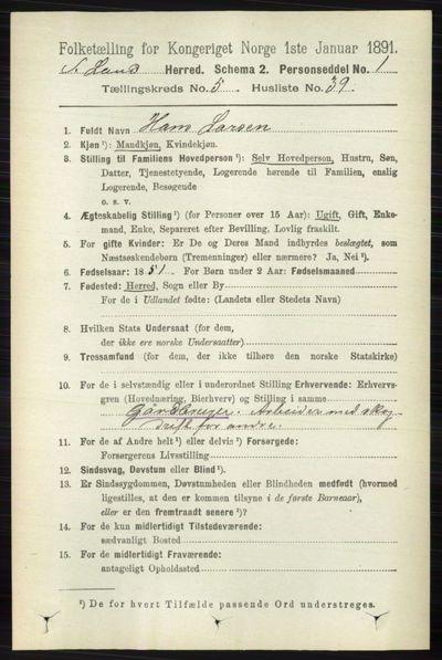 Image from object titled Folketelling 1891 - Søndre Land - personsedler - side 5062