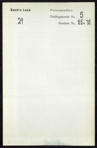 Image from object titled Folketelling 1891 - Søndre Land - personsedler - side 5136
