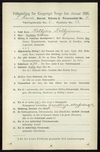 Image from object titled Folketelling 1891 - Søndre Land - personsedler - side 5577