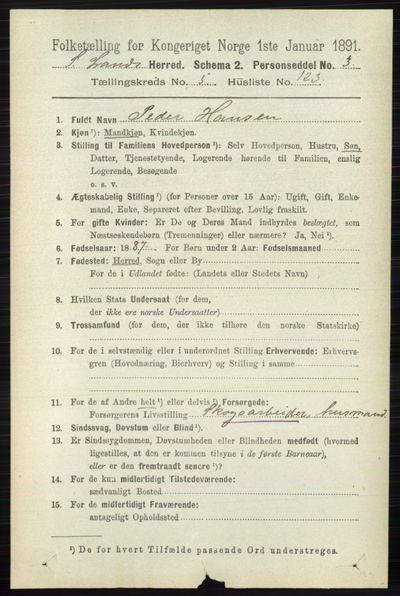 Image from object titled Folketelling 1891 - Søndre Land - personsedler - side 5640