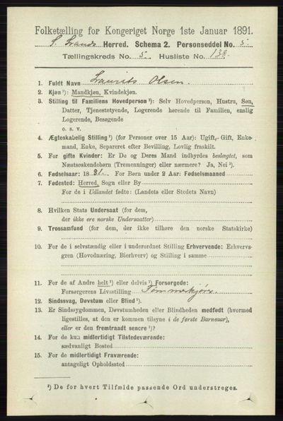 Image from object titled Folketelling 1891 - Søndre Land - personsedler - side 5744