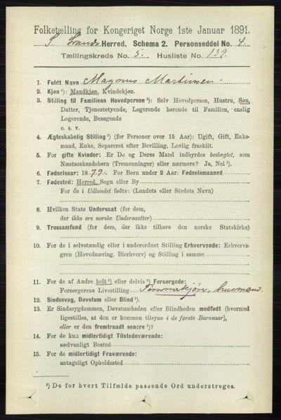 Image from object titled Folketelling 1891 - Søndre Land - personsedler - side 5750