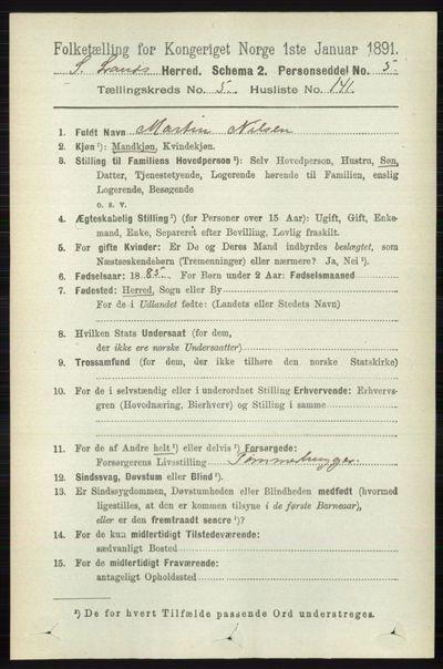 Image from object titled Folketelling 1891 - Søndre Land - personsedler - side 5764
