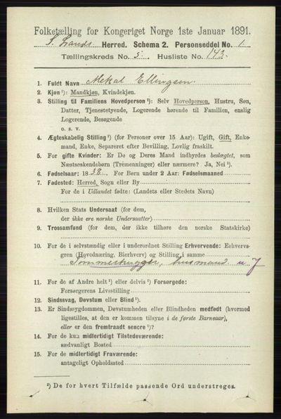 Image from object titled Folketelling 1891 - Søndre Land - personsedler - side 5776
