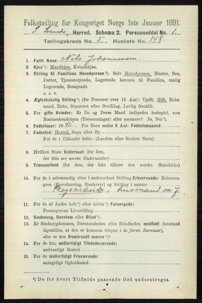 Image from object titled Folketelling 1891 - Søndre Land - personsedler - side 5795