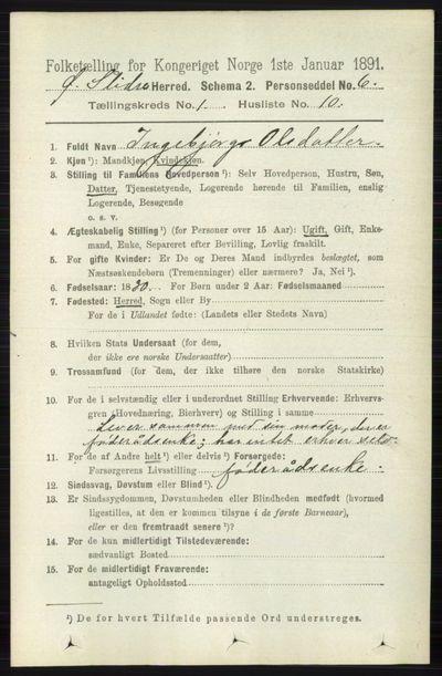 Image from object titled Folketelling 1891 - Øystre Slidre - personsedler - side 113
