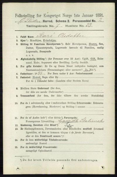 Image from object titled Folketelling 1891 - Øystre Slidre - personsedler - side 2342