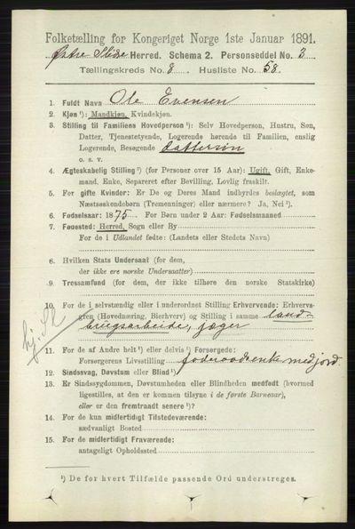 Image from object titled Folketelling 1891 - Øystre Slidre - personsedler - side 2867