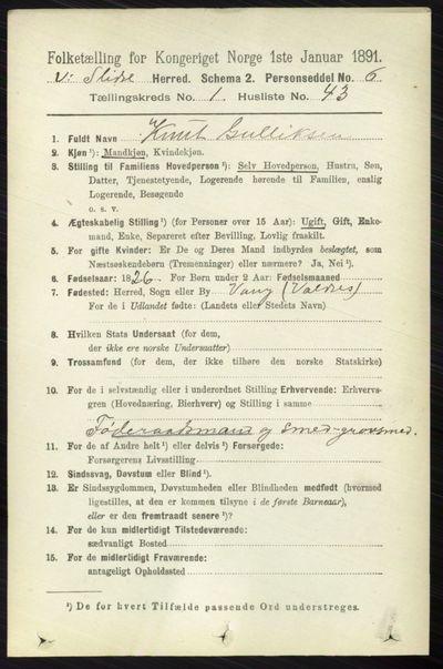 Image from object titled Folketelling 1891 - Vestre Slidre - personsedler - side 326