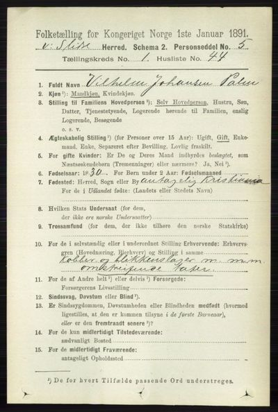 Image from object titled Folketelling 1891 - Vestre Slidre - personsedler - side 331