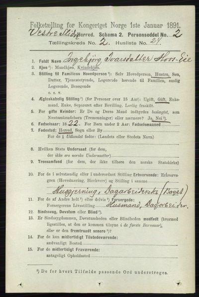 Image from object titled Folketelling 1891 - Vestre Slidre - personsedler - side 658
