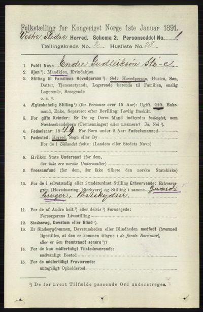 Image from object titled Folketelling 1891 - Vestre Slidre - personsedler - side 681