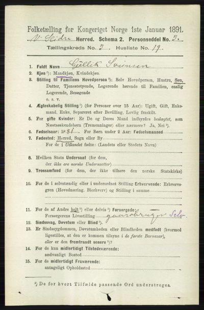 Image from object titled Folketelling 1891 - Vestre Slidre - personsedler - side 966