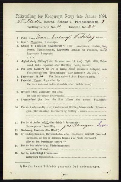 Image from object titled Folketelling 1891 - Vestre Slidre - personsedler - side 1390
