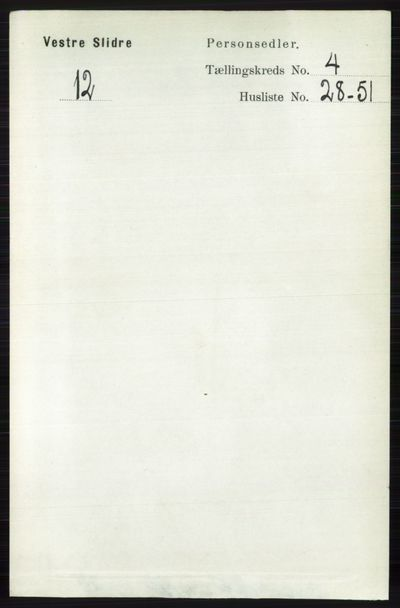 Image from object titled Folketelling 1891 - Vestre Slidre - personsedler - side 1411