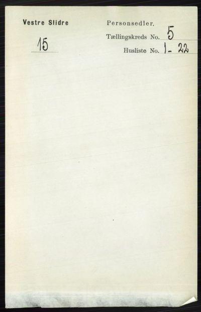 Image from object titled Folketelling 1891 - Vestre Slidre - personsedler - side 1736