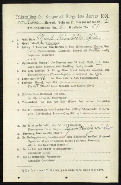 Image from object titled Folketelling 1891 - Vestre Slidre - personsedler - side 2378
