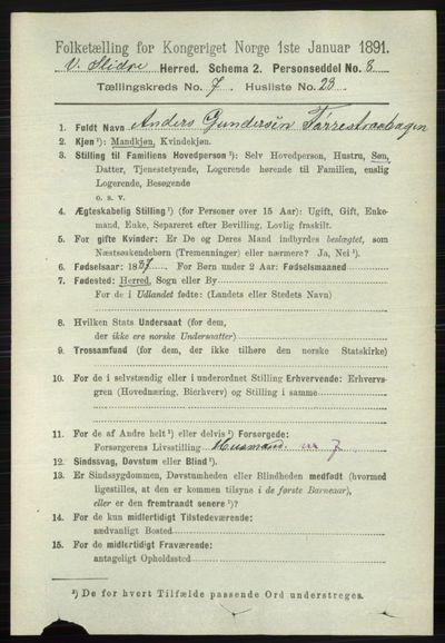 Image from object titled Folketelling 1891 - Vestre Slidre - personsedler - side 2736