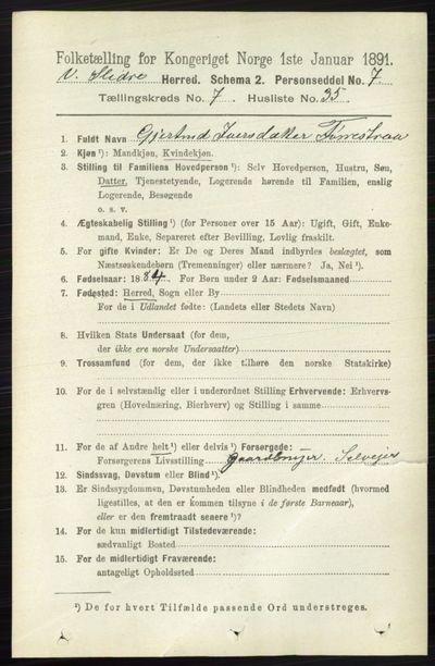 Image from object titled Folketelling 1891 - Vestre Slidre - personsedler - side 2774