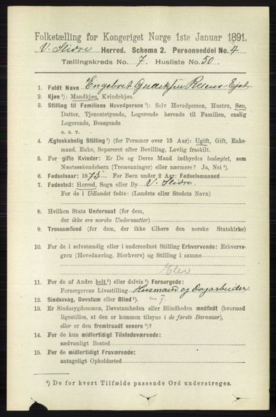 Image from object titled Folketelling 1891 - Vestre Slidre - personsedler - side 2863