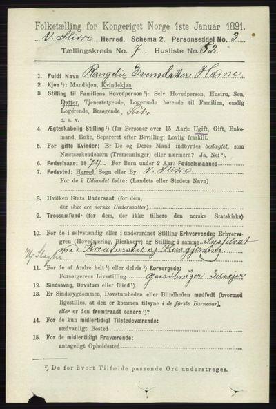 Image from object titled Folketelling 1891 - Vestre Slidre - personsedler - side 2871