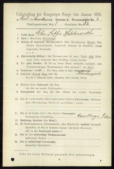 Image from object titled Folketelling 1891 - Nord-Aurdal - personsedler - side 287
