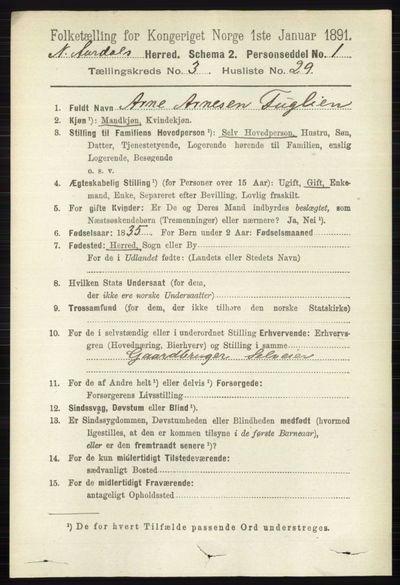 Image from object titled Folketelling 1891 - Nord-Aurdal - personsedler - side 1102
