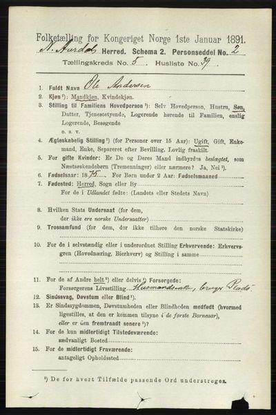 Image from object titled Folketelling 1891 - Nord-Aurdal - personsedler - side 1592