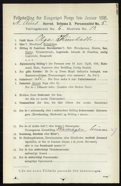 Image from object titled Folketelling 1891 - Nord-Aurdal - personsedler - side 2165