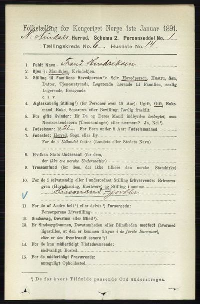 Image from object titled Folketelling 1891 - Nord-Aurdal - personsedler - side 2167