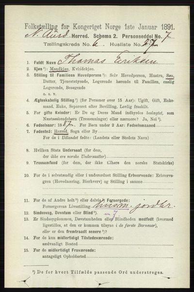 Image from object titled Folketelling 1891 - Nord-Aurdal - personsedler - side 2252