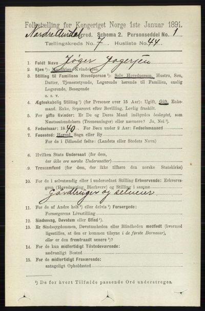 Image from object titled Folketelling 1891 - Nord-Aurdal - personsedler - side 2619