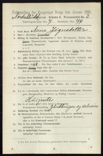 Image from object titled Folketelling 1891 - Nord-Aurdal - personsedler - side 2621