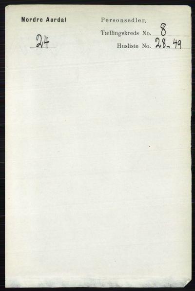 Image from object titled Folketelling 1891 - Nord-Aurdal - personsedler - side 2953
