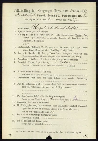 Image from object titled Folketelling 1891 - Nord-Aurdal - personsedler - side 3136