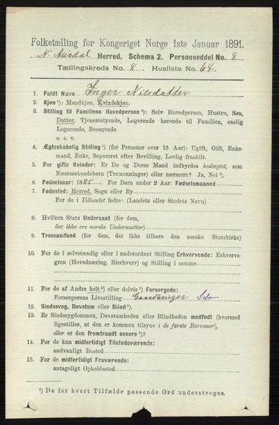 Image from object titled Folketelling 1891 - Nord-Aurdal - personsedler - side 3177