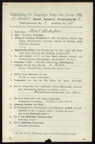 Image from object titled Folketelling 1891 - Nord-Aurdal - personsedler - side 3182