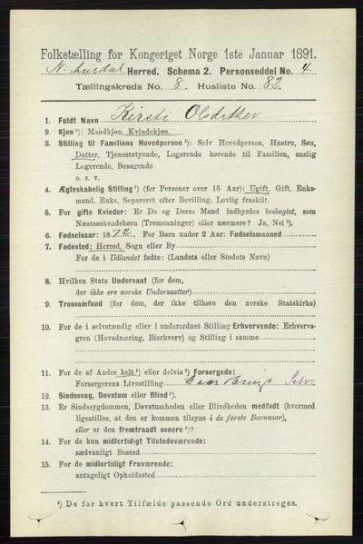 Image from object titled Folketelling 1891 - Nord-Aurdal - personsedler - side 3284