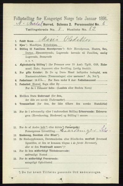Image from object titled Folketelling 1891 - Nord-Aurdal - personsedler - side 3286