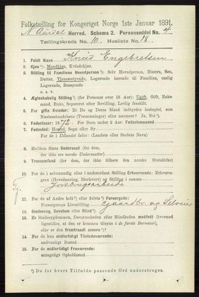 Image from object titled Folketelling 1891 - Nord-Aurdal - personsedler - side 3846