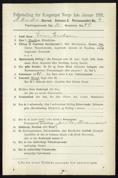 Image from object titled Folketelling 1891 - Nord-Aurdal - personsedler - side 4040