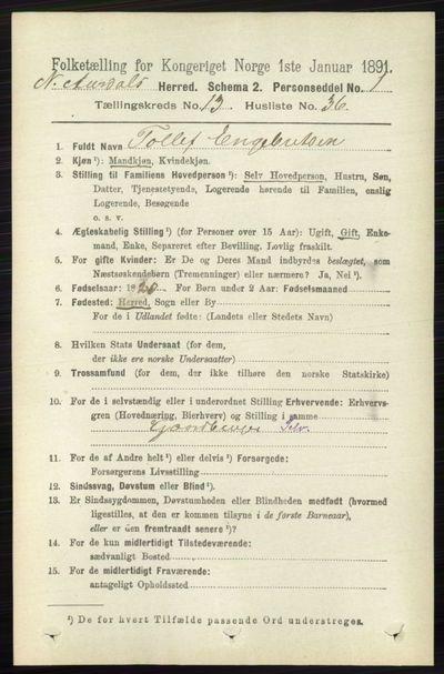 Image from object titled Folketelling 1891 - Nord-Aurdal - personsedler - side 4985