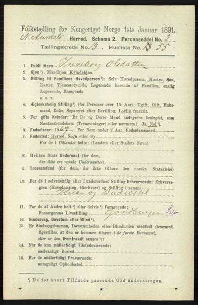 Image from object titled Folketelling 1891 - Nord-Aurdal - personsedler - side 5088
