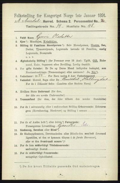Image from object titled Folketelling 1891 - Nord-Aurdal - personsedler - side 5497