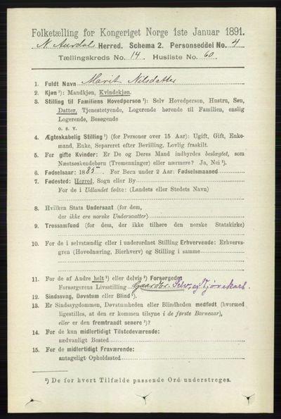 Image from object titled Folketelling 1891 - Nord-Aurdal - personsedler - side 5582