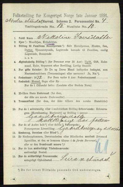 Image from object titled Folketelling 1891 - Nord-Aurdal - personsedler - side 5788