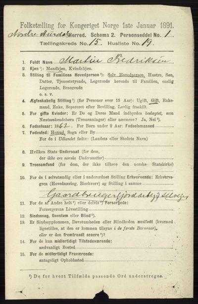 Image from object titled Folketelling 1891 - Nord-Aurdal - personsedler - side 5837